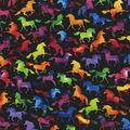 Novelty Cotton Fabric-Colorful Unicorns on Black