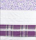 Patchwork Print Solid Purple Cotton