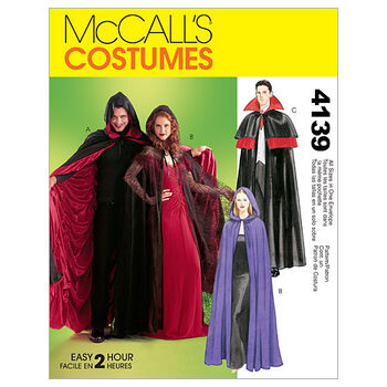 McCall's Patterns M4139 Adult Cape Costumes-Size S-M-L-XL