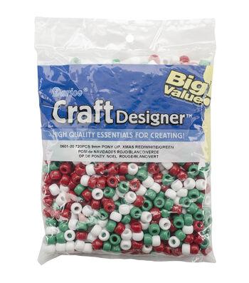 Darice Opaque Xmas Red, White & Green Pony Beads