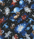 Novelty Cotton Fabric -Kittens in Space with Planets