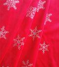 Holiday Decor Fabric-Velvet Snowflakes Glitter Red