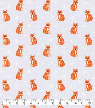 Snuggle Flannel Fabric-Pretty Foxes on Gray