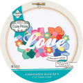 Needle Creations Easy Peazy Reverse Stamped Embroidery Hoop Kit-Love