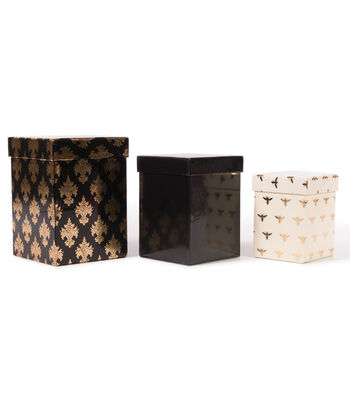 DCWV Square Nested Box Set: Black and Gold
