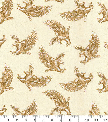 Patriotic Cotton Fabric-Eagles on Parchement