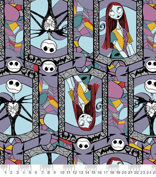 Nightmare Before Christmas Fleece Fabric-Sally And Jack Stained Glass
