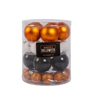 Maker's Halloween Decor 32 pk Classic Ornaments-Orange & Black