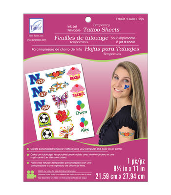 "Temporary Tattoo Inkjet Printable Sheet-White 8.5""X11"" 1/Pkg"