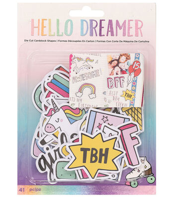 American Crafts Hello Dreamer 41 pk Ephemera Die-Cut Cardstock Shapes