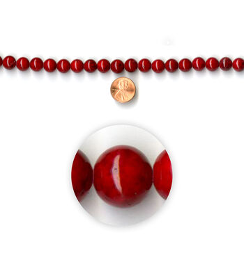 Blue Moon Strung Shell Beads,Round,Red