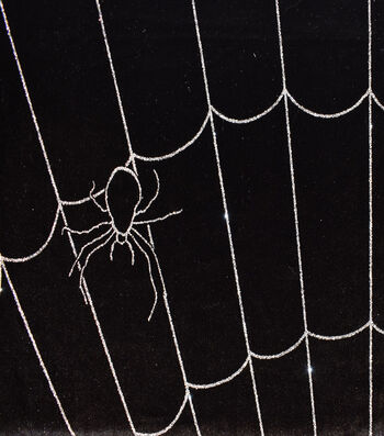 "The Witching Hour Halloween Velvet Fabric 58""-Spider Web"