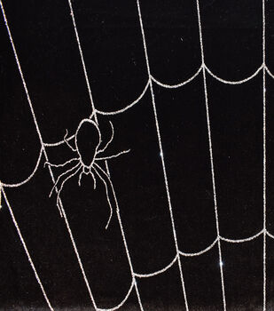 The Witching Hour Halloween Velvet Fabric -Glitter Spider Web