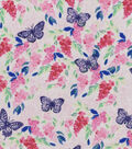 Snuggle Flannel Fabric -Painted Butterflies Pink Navy