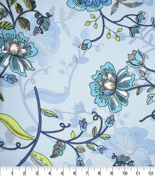 Fast Fashion Bubble Crepe Knit Fabric-Blue Floral