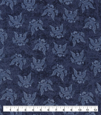 Snuggle Flannel Fabric-USA Eagle On Navy