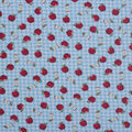 Novelty Cotton Fabric-Apples On Blue Gingham