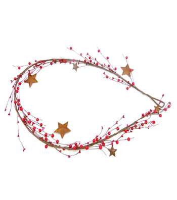 Blooming Holiday Christmas 3''x66'' Red Berry & Star Garland