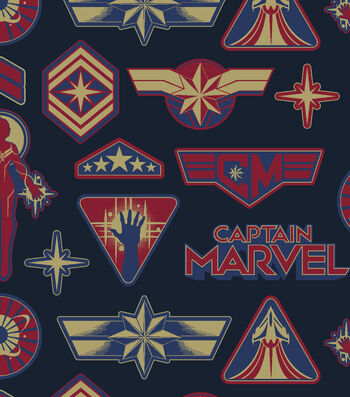 Marvel Fleece Fabric-Captain Marvel Badges