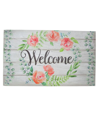 Hello Spring Gardening Rubber Door Mat-Welcome & Peony