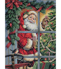 Gold Collection Candy Cane Santa Counted Cross Stitch Kit