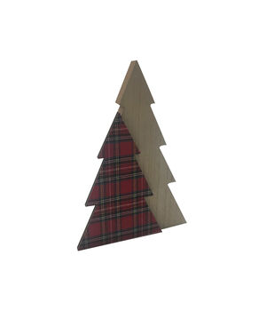 Handmade Holiday Christmas Small Tree Tabletop Decor-Tartan