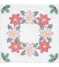 Jack Dempsey Stamped White Quilt Blocks Poinsettias