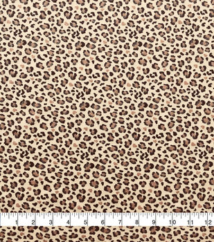 Doodles Cotton Interlock Fabric-Tan Glitter Cheetah