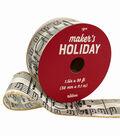 Maker\u0027s Holiday Christmas Taffeta Ribbon 1.5\u0027\u0027x30\u0027-Music Notes on Ivory
