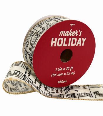 Maker's Holiday Christmas Taffeta Ribbon 1.5''x30'-Music Notes on Ivory