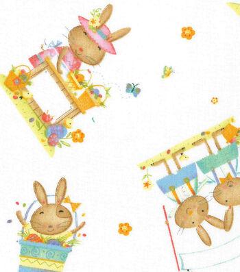 Easter Cotton Fabric 43''-Playful Bunnies