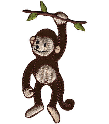 """Wrights Iron-On Appliques-Monkey On Branch 2""""X3-1/4"""" 1/Pkg"""