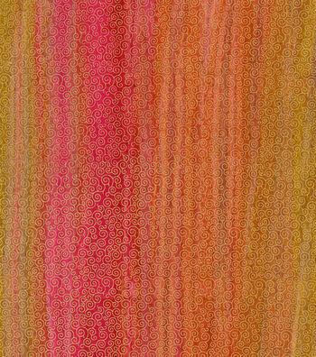 Legacy Studio Batik Fabric 44''-Metallic Scroll on Pink & Orange