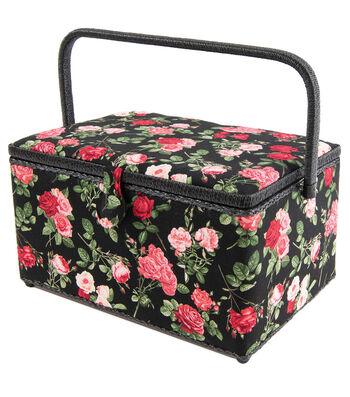 Rectangle Sewing Basket-Floral on Black