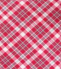 Blizzard Fleece Fabric-Red Gray Bias Plaid