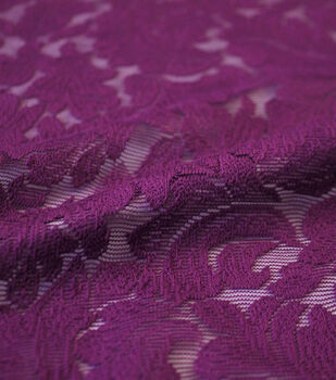 Knit Lace Fabric 50''-Magenta Leafy