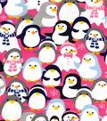 Snuggle Flannel Fabric 41\u0022-Penguins And Snowmen