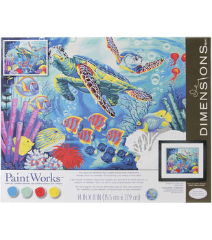 """Paint By Number Kit 11""""X14""""-Sea Turtles"""
