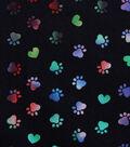 Valentine\u0027s Day Novelty Cotton Fabric-Tie Dye Paws on Black