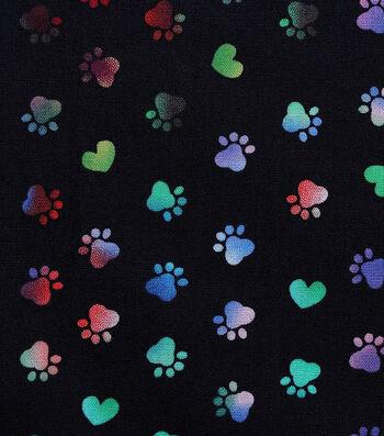 Valentine's Day Novelty Cotton Fabric-Tie Dye Paws on Black