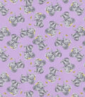 Snuggle Flannel Fabric-Realistic Elephant With Flowers