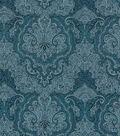 Vintage Cotton Fabric 43\u0022-Tonal Blue Damask