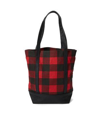 Canvas Tote Bag-Red & Black Plaid