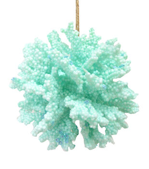 Handmade Holiday Christmas Frosty Seas Coral Ball Ornament-Mint