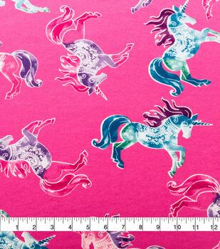 Doodles Cotton Interlock Fabric-Pink Prancing Unicorns