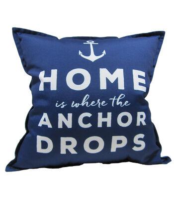 """Patio Oasis 17""""x17' Navy Anchor Drops Outdoor Pillow"""