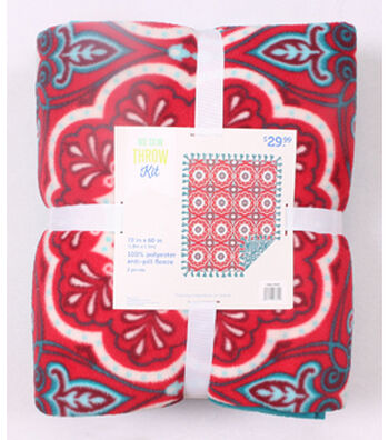"No Sew Fleece Throw 72""-Red Teal Medallion"