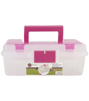 Creative Options Tool Box Organizer-Clear & Magenta
