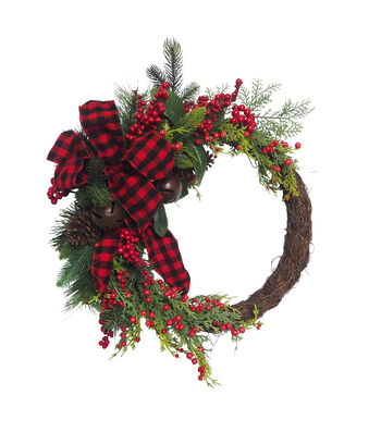 Blooming Holiday Christmas Buffalo Check Bow, Bell, Pine & Berry Wreath