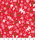Christmas Cotton Fabric-Christmas Trees & Stockings on Red
